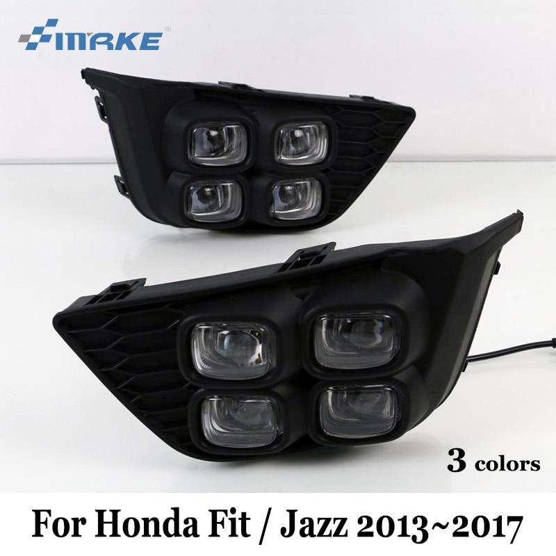 SMRKE DRL For Honda Fit / Jazz 2013~2017 / Three Colors LED Car Daytime Running Lights With Fog Lamp / Four Eyes Car Styling smrke drl for ford ranger wildtrak 2015 2017 car led daytime running lights