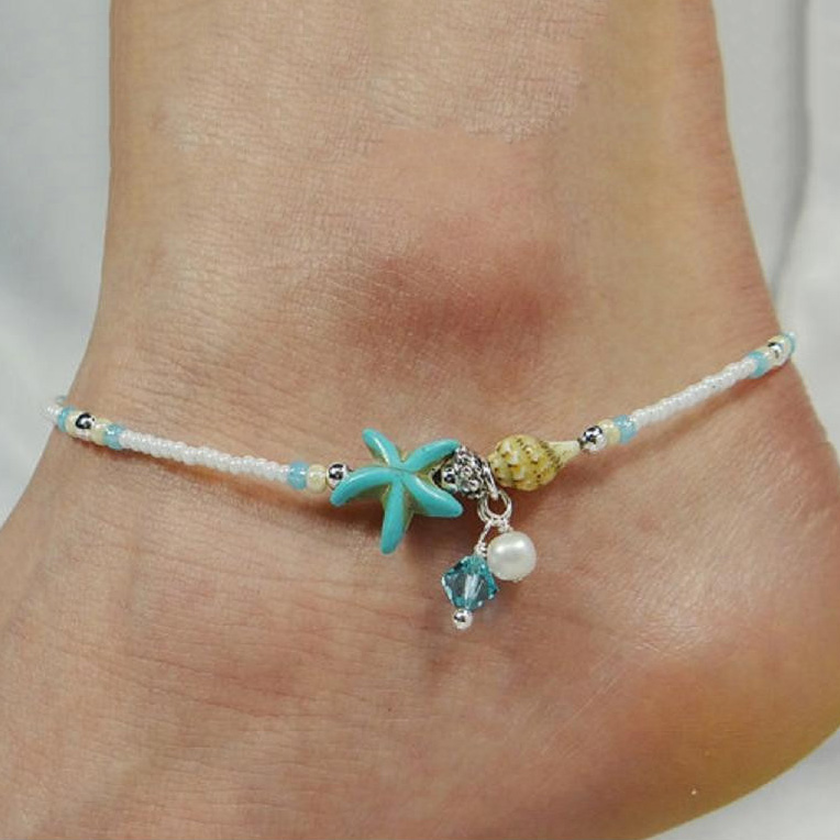 SHUANGR Shell Anklet Beads Starfish Anklets For Women 2017 Fashion Vintage Handmade Sandal Statement Bracelet Foot Boho Jewelry