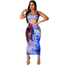 Summer Tie Dye Print 2 Piece Set Sexy Maxi Dress High Waist Bodycon Bandage Pencil Club Party Two Piece Dresses Vestidos Robe