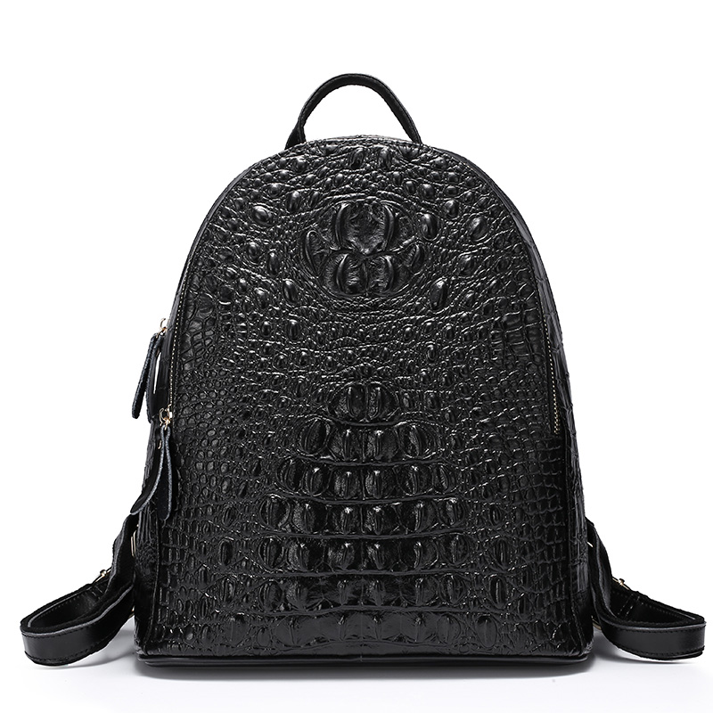 ZENCY 2017 Famous Brand Crocodile Backpack Genuine Leather Second Layer Cowhide Leather Women School Bags Black Dark Blue Color zency genuine leather backpacks female girls women backpack top layer cowhide school bag gray black pink purple black color