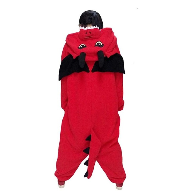 New Adult Animal  red dragon Cosplay Pajamas  Onesie Sleepwear Costume