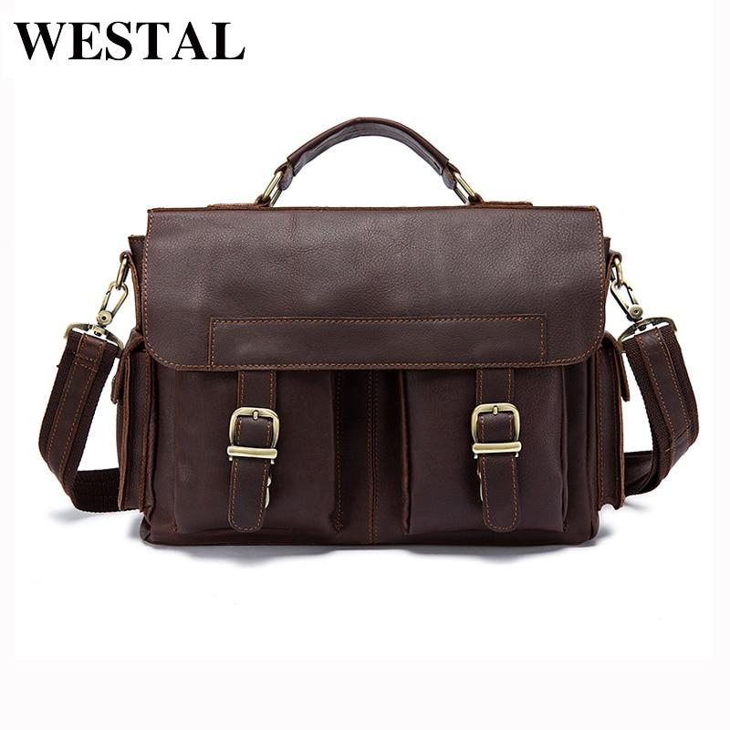 WESTAL Men Bag Genuine Leather Briefcase Men