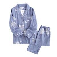 Корейский свежий кленовый лист, пижамные комплекты для женщин, 100% хлопок, марля, с длинным рукавом, повседневная одежда для сна, женская пижа...