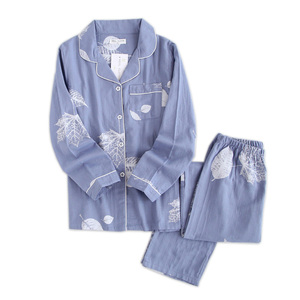 Image 1 - Fresh maple leaf pajama sets women 100% gauze cotton Japanese summer long sleeve casual sleepwear women simple pyjamas
