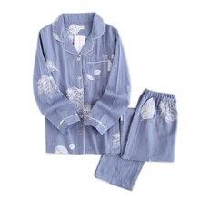 Taze akçaağaç yaprağı pijama setleri kadınlar % 100% gazlı bez pamuk japon yaz uzun kollu casual pijama kadın basit pijama
