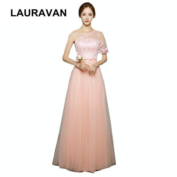 Femmes élégantes dames longue formelle tulle longueur de plancher une épaule bal robe de bal pêche robe de soirée robes élégantes robes