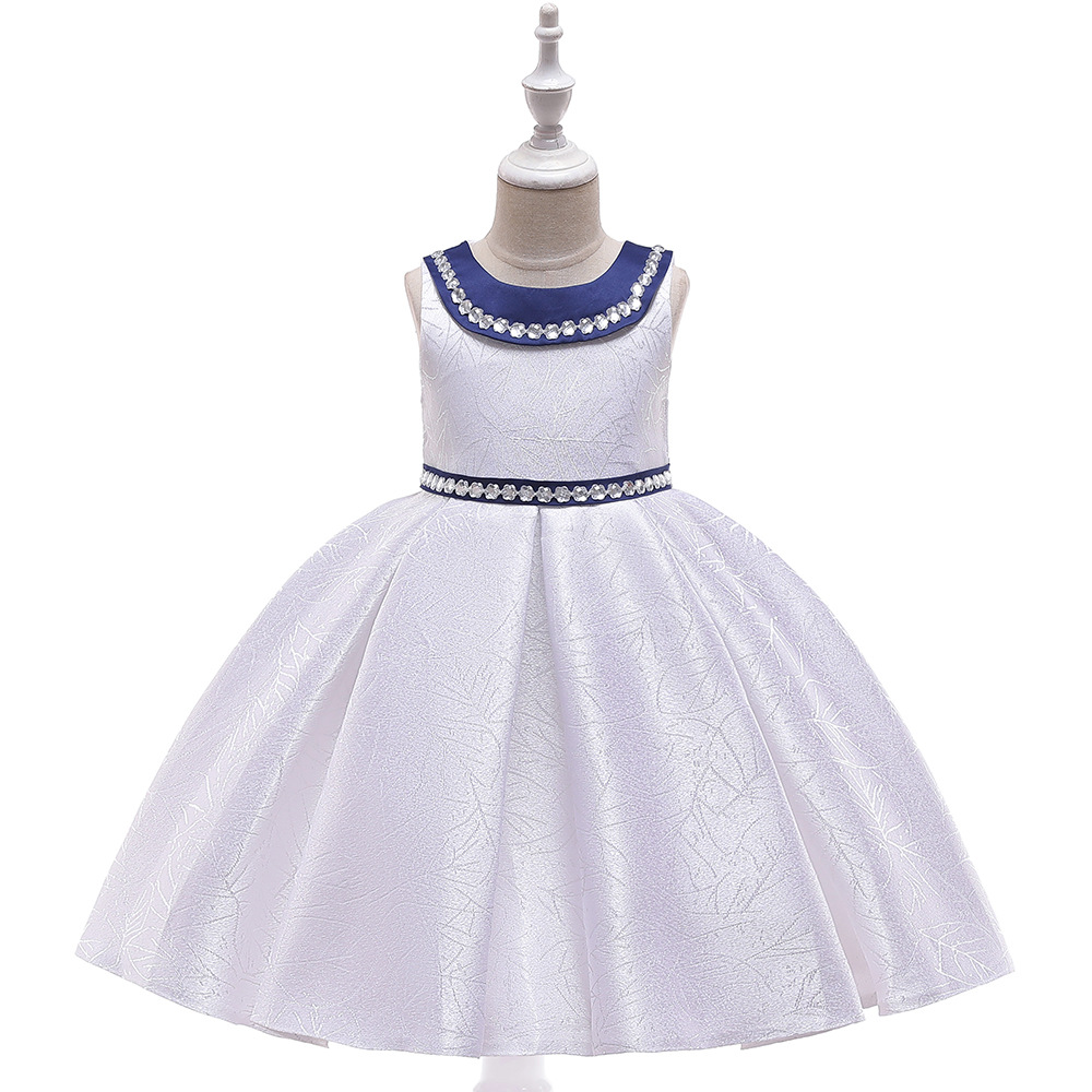New Style A-Line White Crystals First Communion   Dresses   Satin Little   Girls   for Prom Evening Party