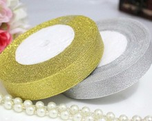 250 yards Xmas ribbon polyester gold and silver ribbon Christmas tree sewing accessories decorations kerst decoratie 0.6cm