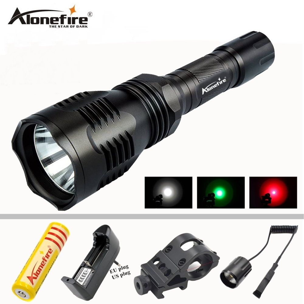 AloneFire HS-802 Hunting LED Flashlight White Green Red Light Long Distance Power By 18650 Battery With Gun Mount Remote Switch uniquefire uf 1405 cree xpe red white green led flashlight 18650 long distance torch 300 lm rechargeable battery gun mount