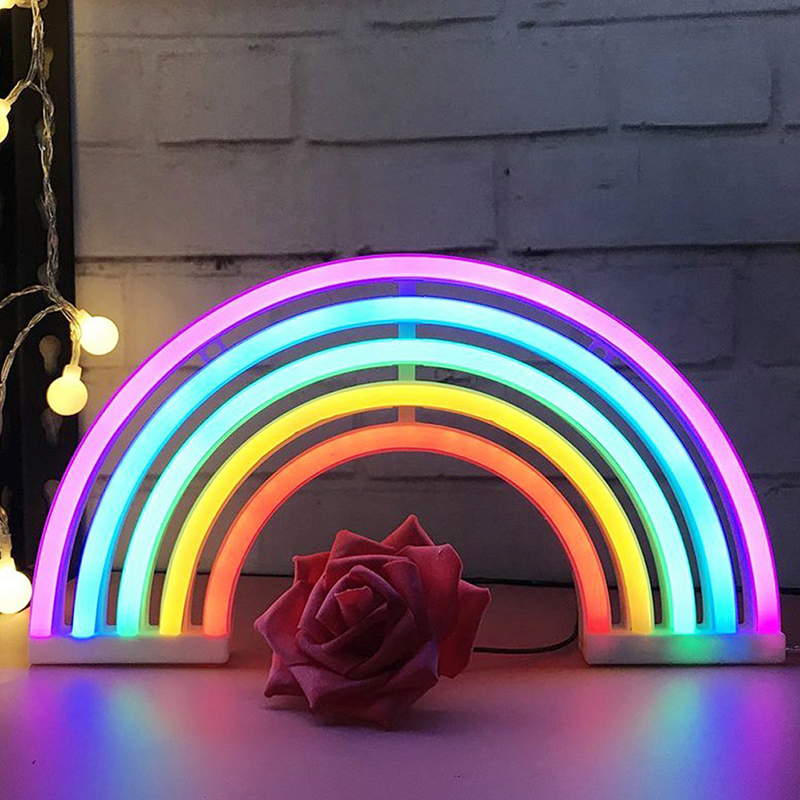 Night Lights Rainbow Neon Sign Light Wall Battery LED for Home Party Decoration High Quality