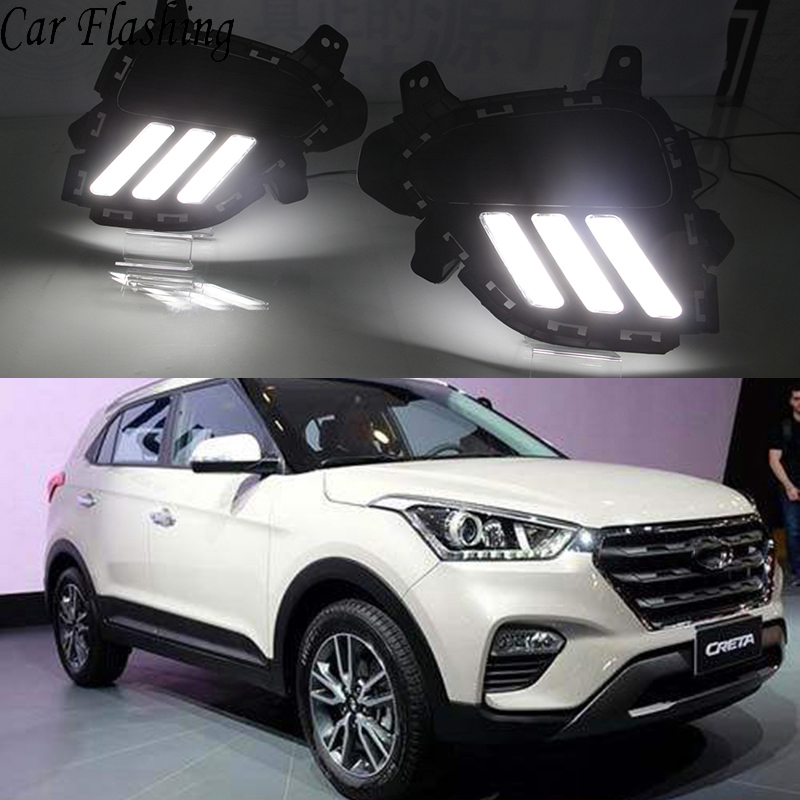 Car Flashing 2Pcs DRL for Hyundai creta IX25 2017 2018 LED Daytime Running Lights Daylight with