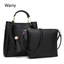 Женская сумка 2018 новые женские сумки 2 предмета/партия моды сумка простой кисточкой ведра Большой Сумка Женщины Сумки