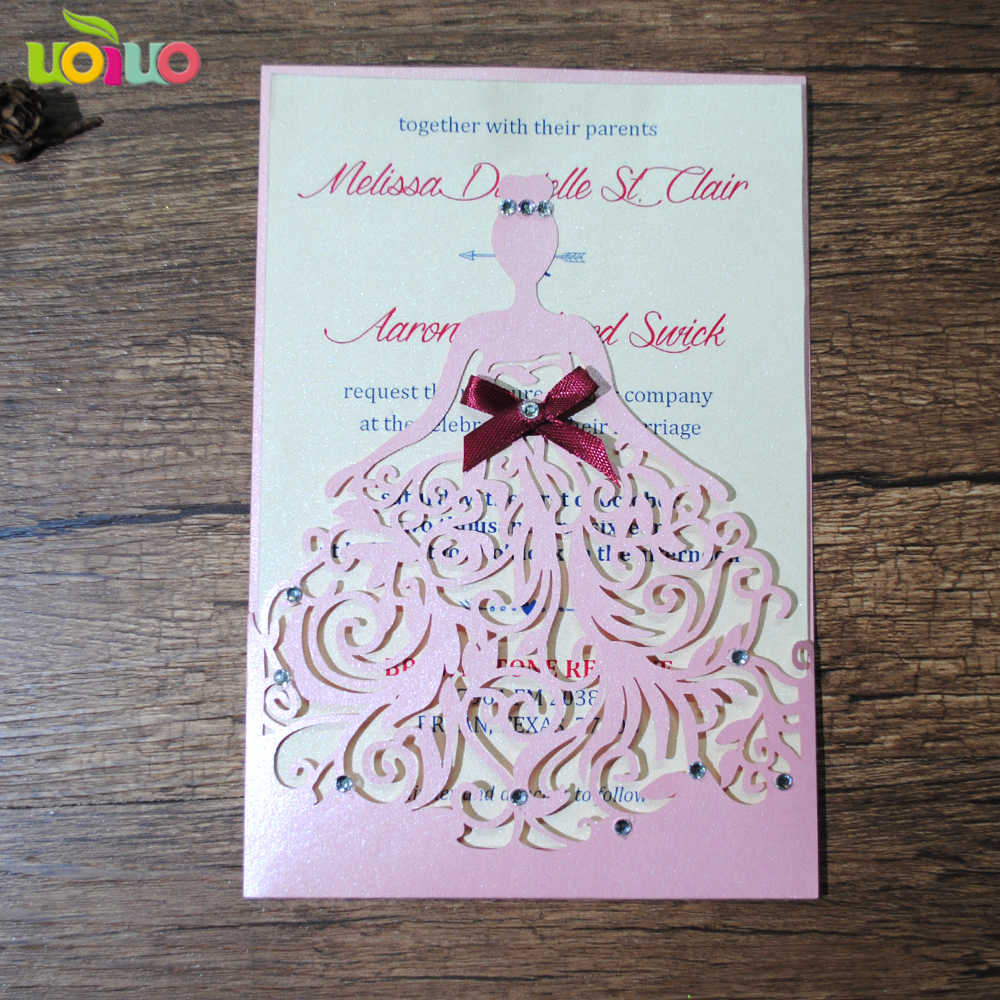 Pocket Cards Laser Cut Girls Birthday Or Wedding Invitations For Wedding Party Decoration