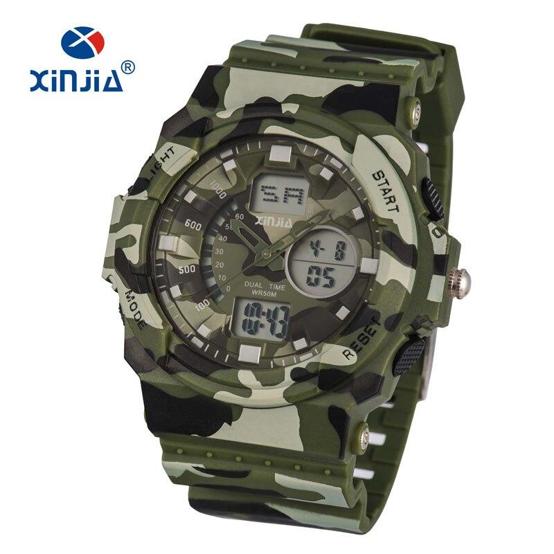 2017 Nieuwe XINJIA Militaire Leger Sport Horloges Soldaat Camouflage LED Digital Voor Heren Outdoor Schokbestendig Waterdicht 50 M Diver