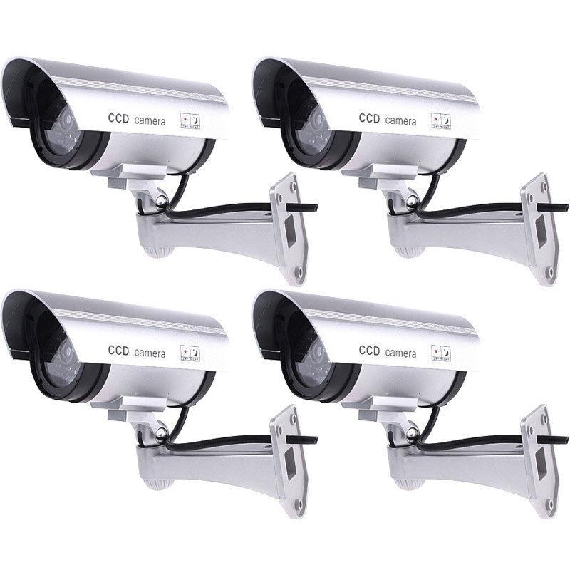 4 Pcs IR Bullet Faux Surveillance Caméra de Sécurité Factice CCTV & Record Lumière