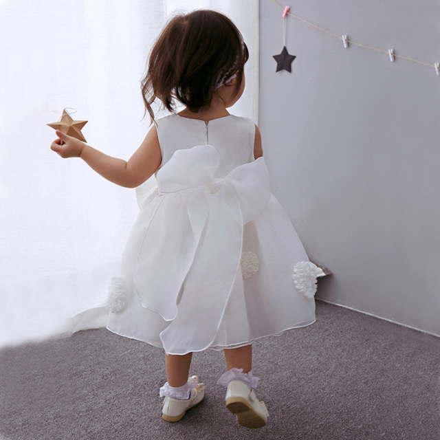 10844c8b44d4a Newborn Baby Girls Angel White Dress Infant Evening Birthday Party Wear  Clothing Toddler Flower Girls Christening Ball Gown 0-2Y