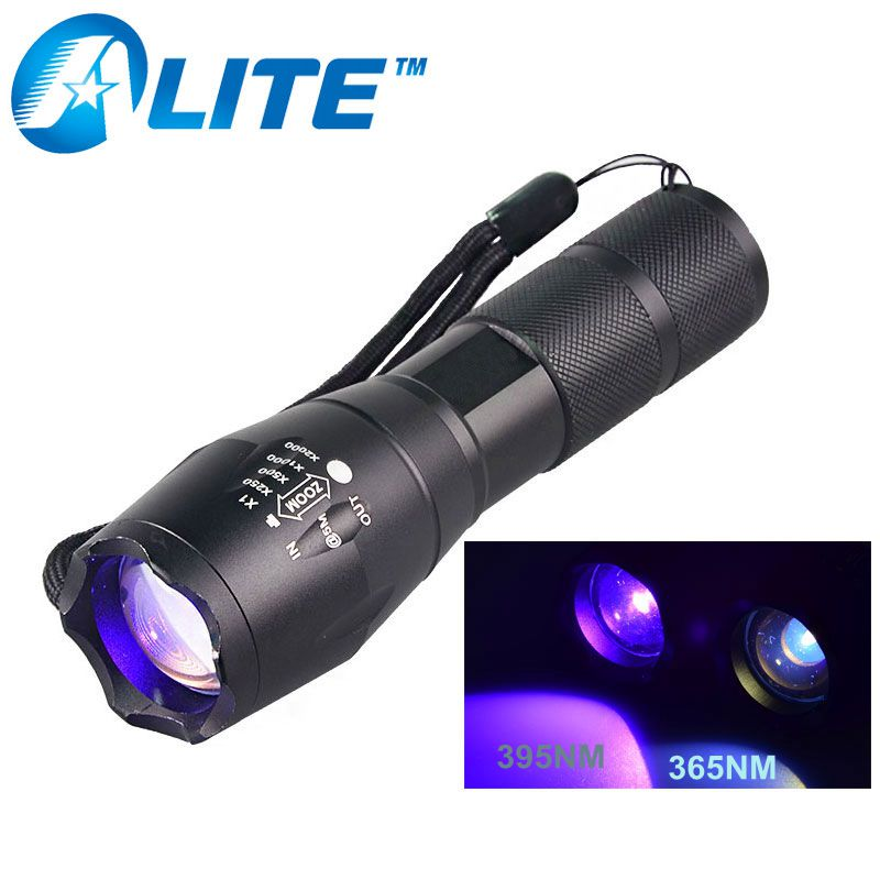 [Free Ship] 365nM 395nM Powerful UV LED Zoom Black Light flashlight Ultraviolet Torch Light Lamp