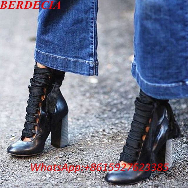 52e6f4b2ac7 Street New Fashion Shoes Smooth Leather Round Toe Women Lace Up Booties  Black Chunky Heel Ladies Ankle Boots Plus Size 42