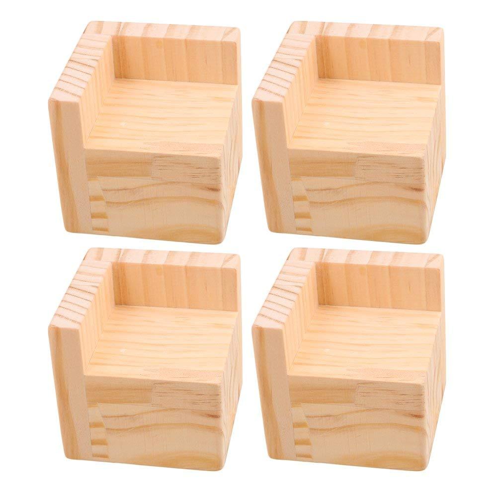 4pcs 7.5x7.5x7.3cm L-shaped Semi-closed Lift Wood Bed Desk Riser Lifter Table Furniture Feet Lift Storage Modern Techniques