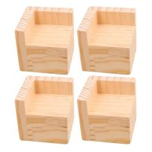 4Pcs 7.5x7.5x7.3cm L Shaped Semi Closed Lift Wood Bed Desk Riser Lifter Table Furniture Feet Lift Storage