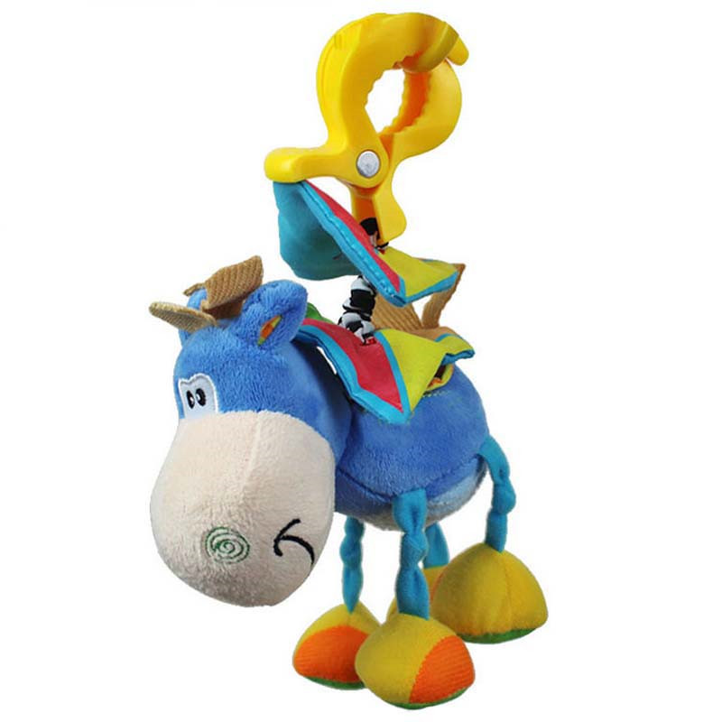 baby donkey plush clip rattles toys Infant educational hanging Bell band clamp animal rattles toys