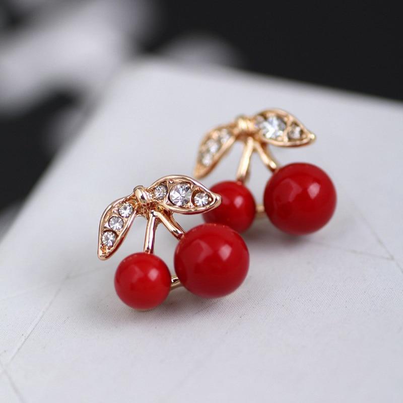 Hot 1Pair Women Beauty Girl Trendy Cute Red Cherry Ear Stud Earrings Jewelry Gift