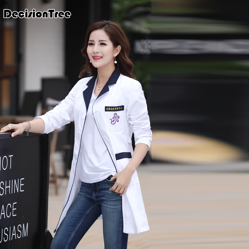2019 Women White Medical Coat Nurse Uniform Medical Scrub Clothes Hospital Clothes Scrubs Medical Uniforms Lab Coat