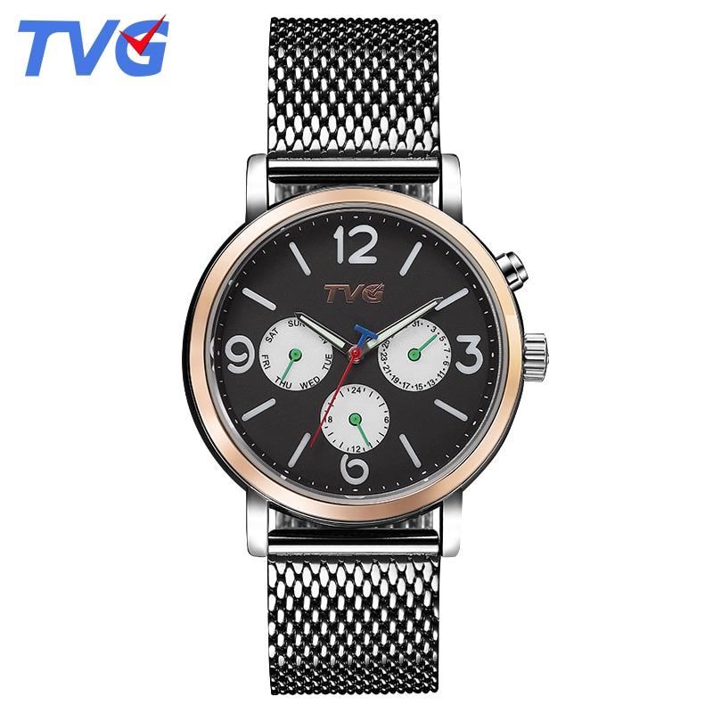 2016 TVG Brand Male Quartz watches font b Men b font Fashion Casual stainless steel waterproof