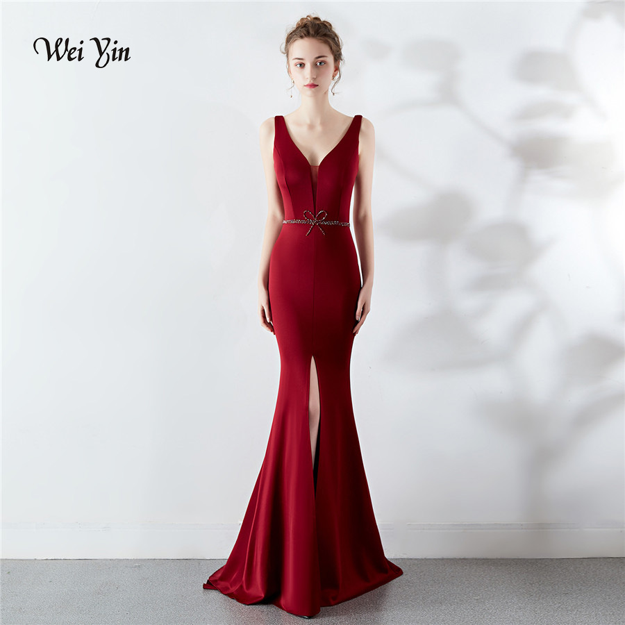 wei yin 2019 New Long Burgundy Formal   Evening     Dress   Crystal Elegant Mermaid V Neck Backless Party Gowns Robe De Soiree WY1656