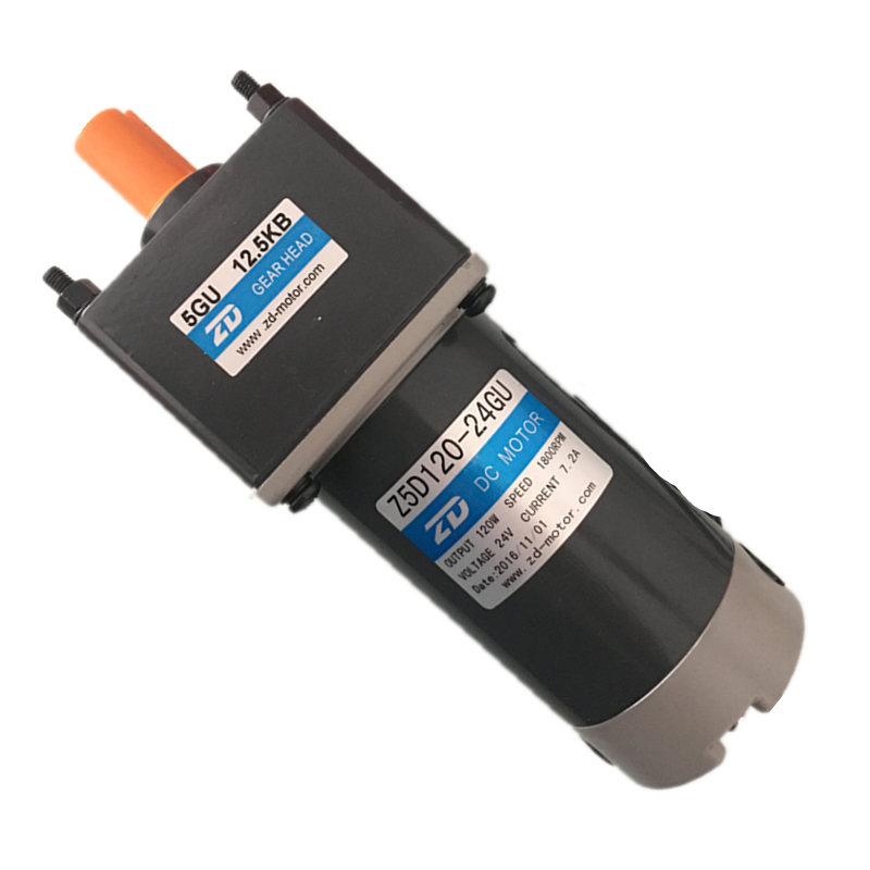 120 watts 24v DC gear motor 1800 RPM output 15mm shaft with a 5GU-75K the gearbox of 75:1 the flange size is 90x90mm