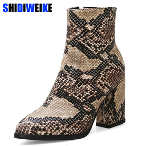 Image 2 - Print Snakeskin Booties Women Ankle Boots Zip Pointed Toe Footwear Thick High Heels Female Snake Boot Women 2020 New g403