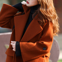 2019 New design loose style wool coat plue size long black win red