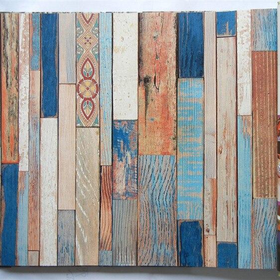 Effet 3D coloré bois Look Mural papier peint rouleaux papier décor décors grange mur 10 m