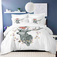 Animal Deer Bedding Set Bohemia Duvet Cover Queen Dream Catcher Bed Cover Queen King Size White Bedclothes Home Decor