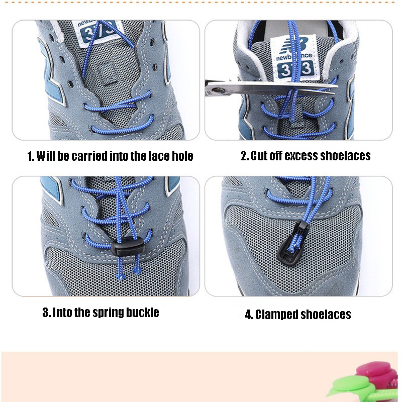 1 Pair No Tie Locking Shoelaces Elastic Unsiex Women Men Trainer Running Athletic Sneaks Shoe Laces Fit Strap Shoelace Wholesale (4)