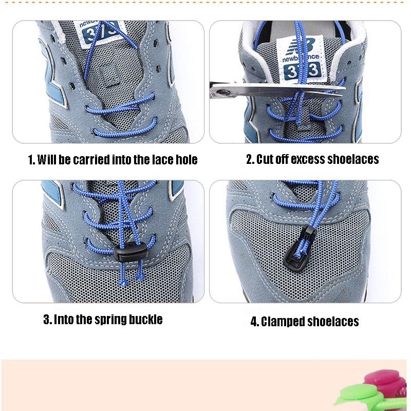 1 Pair No Tie Locking Shoelaces Elastic Unsiex Women Men Trainer Running Athletic Sneaks Shoe Laces Fit Strap Shoelace Wholesale (4)