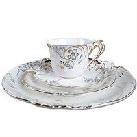 Fashion gold embossed porcelain steak plate bone china gold rim dinnerware set