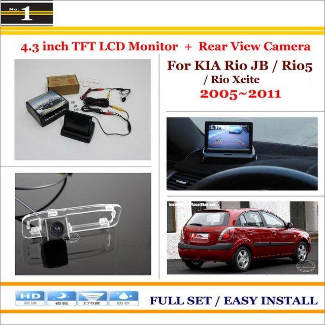 """Para KIA Rio JB/Rio5/Rio Xcite 2005 ~ 2011/Car Estacionamento Camera + 4.3 """"LCD Monitor de PAL NTSC = 2 em 1 Sistema de Estacionamento Retrovisor"""