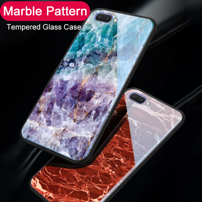 Marble Tempered Glass <font><b>Phone</b></font> <font><b>Case</b></font> For <font><b>OPPO</b></font> A83 A57 / A39 All inclusive <font><b>Case</b></font> Soft Edge Cover For <font><b>OPPO</b></font> A1 A3 <font><b>A3S</b></font> A5 AX5 A7 Coque image
