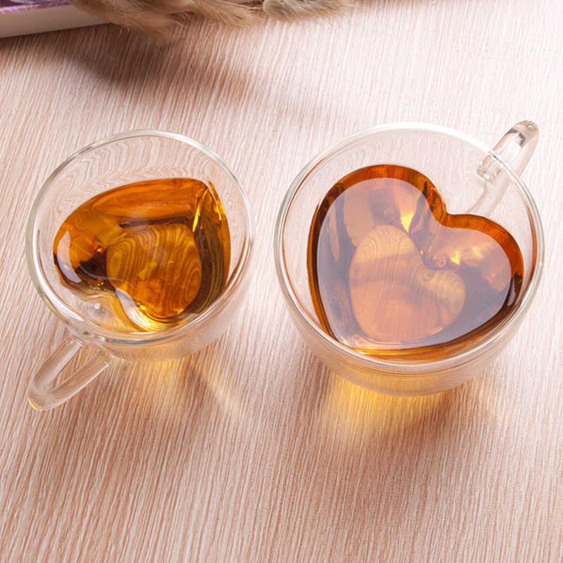 Heart Love Shaped Glass Mug Couple Cups Double Wall Glass Mug Resistant Tea Beer Mug Milk Lemon Juice Cup Drinkware Nice Gift A