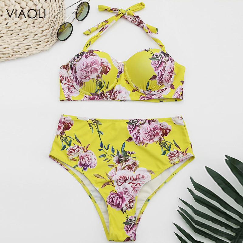 Girl High Waist Flower Print Push Up Two Piece Swimming Suit New Bikini Set Sexy Strap Swimsuit Brazilian Biquini Swimwear Women