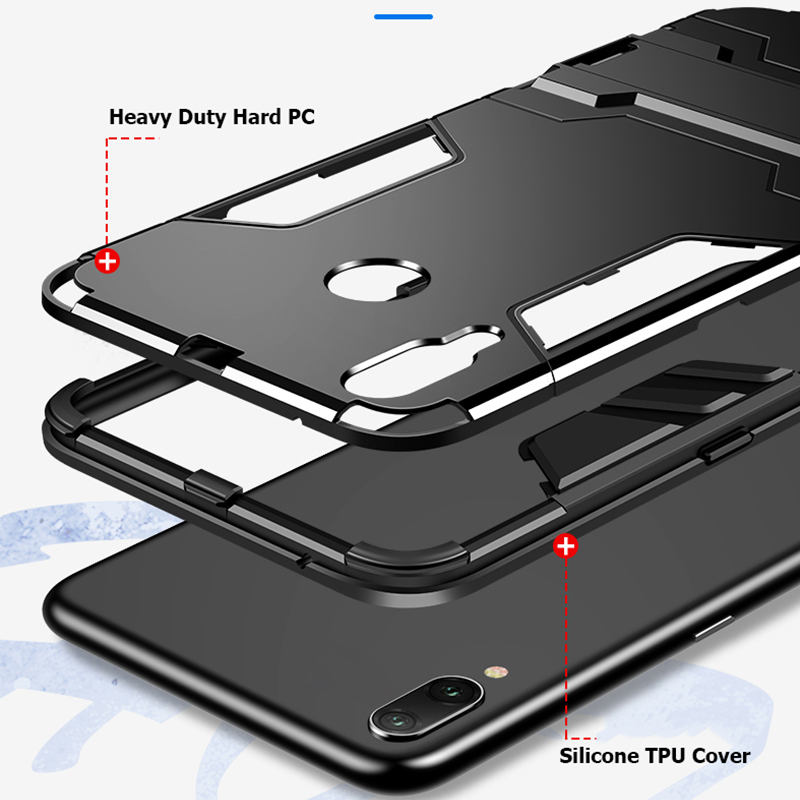 360 Full Stand Armor Case For Xiaomi Redmi Note 7 6 Pro 5 Hybrid Silicone TPU PC Back Cover For Redmi 6 6A S2 5 Plus Phone Case in Fitted Cases from Cellphones Telecommunications