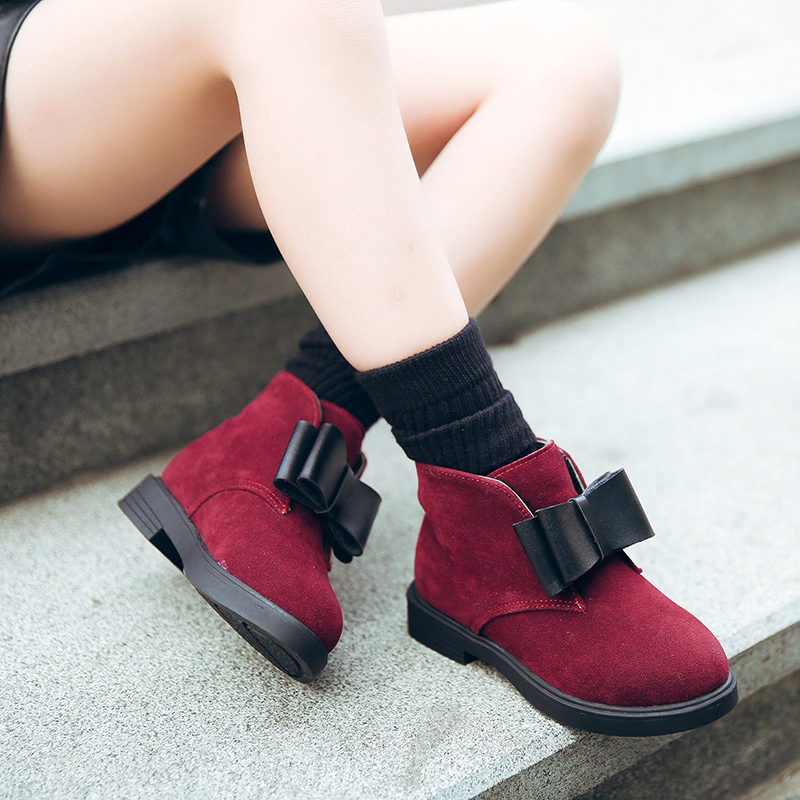JGSHOWKITO 2018 Autumn Winter Children Shoes PU Flock Leather Ankle Boots Kids Warm Boots Girls Fashion Bow-tie Shoes Size 27-37 2014 new autumn and winter children s shoes ankle boots leather single boots bow princess boys and girls shoes y 451