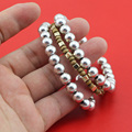 Hot Selling 1Set 3Pcs Elastic Bracelet Silver Beads Women's Fashion Jewelry Wholesale Lot Free Shippping 0VMF
