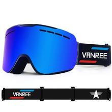 цена на VANREE Brand ski goggles double Lens UV400 anti-fog Skiing eyewear men women cylinde snow glasses adult skiing snowboard goggles