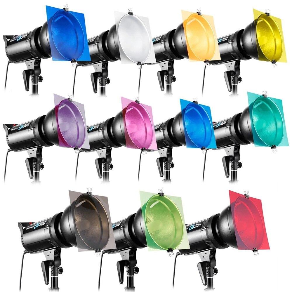 Camera 30cm 11pcs Set Pack Of Gel Sheet Transparent Color Correction Light Gel Filter Card For Photography Flashlights