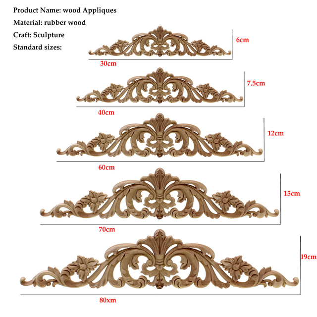 Woodcarving Furniture Vintage Home Decor Garden Decoration Maison Accessories Solid Wood Applique Carved Flower Piece Miniature 4