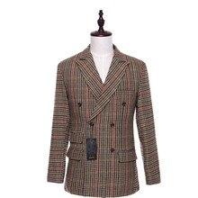 New Men Suit Jacket Plaid Fabrics Double Breasted Casual Men Coat Blazer Cotton Slim England Masculino Male Jacket Size XS-4XL