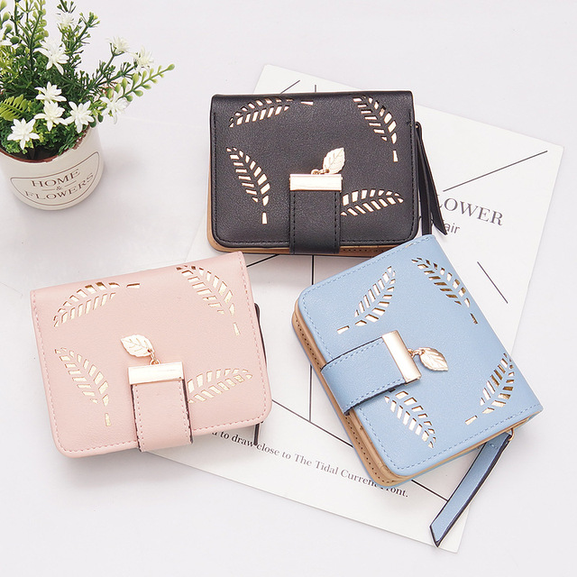 New Women Wallets Short Wallet Ladies Zipper Buckle Hollow Leaf Purse Wallet Female Women Zipper Purse Card Holder Cartera Mujer 2