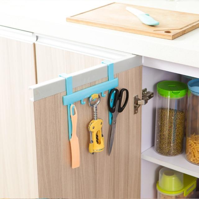 Door Back Hook Kitchen Cabinet Organizer Plastic Hanging Cupboard Door Trash Garbage Bags